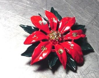VINTAGE Christmas POINSETTIA  Pin Brooch Enamel