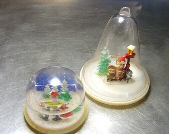 VINTAGE 1960s and 70s Plastic Snow domes  PAIR Elf and Carolers TWO