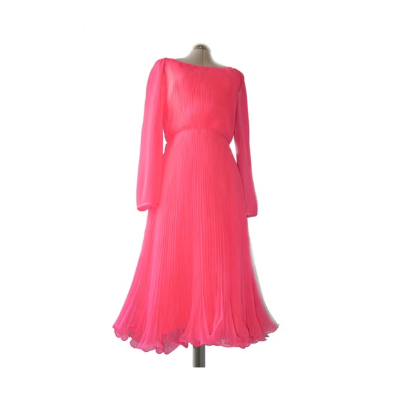 Amazing, floaty 1980's goddess prom gown or party dress M L 8 10 -  NEON pink, full accordion pleats, sheer overlay