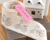 Hand Stamped Fabric Bicycle Ribbon 5 Yards