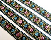 Jacquard Embroidered Floral Ribbon, Black / Pink / Blue, 3/4 inch wide, 1 yard, For Home Decor, Accessories, Apparel, Scrapbook, Mixed Media