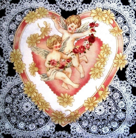 "Cherub Angels Fabric, Fat Quarter,  Multicolor / Black, 18"" X 22"" inches, 100% Cotton, For Victorian & Romantic Projects"