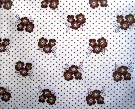 """Chocolate Floral Dots Fabric, Fat Quarter, Brown / Cream , 18"""" X 21"""" inches, 100% Cotton, For Victorian & Romantic Projects"""