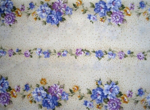 "Violet Floral Stripe Fabric, Fat Quarter, Multicolor / Cream, 18"" X 22"" inches, 100% Cotton, For Victorian & Romantic Projects"