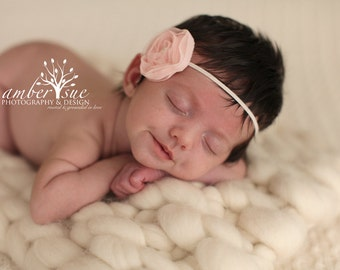 Peach Shimmer Chiffon Baby Flower Headband, Newborn Headband, Baby Flower Headband, Baby Girl Flower Headband, Photography Prop