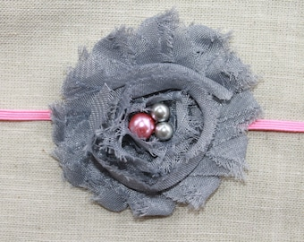 Dark Gray and Pink Chiffon Baby Flower Headband, Newborn Headband, Baby Girl Flower Headband, Photography Prop