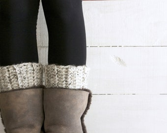 Boot Cuffs for Women in Speckled Oatmeal / The Waverlie Cuffs