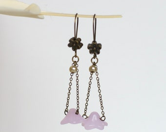 Pink Dangling Flower Earrings