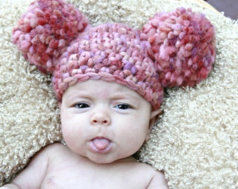 Baby girl crochet hat with pompoms, pinks, beanie, photo prop, winter, fall, baby shower gift