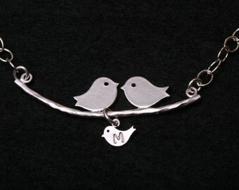 bird Initial bracelet,Bird family on branch,monogram bracelet,Mother gift,hand stamped initial,Mom and baby,anniversary gift,family initials