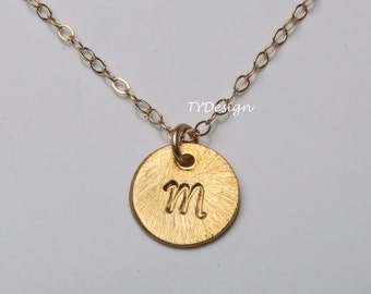 Gold plated Initial Necklace,textured initial circle necklace,custom monogram,custom font,Everyday Jewelry,Birthday gift,Bridesmaids gift