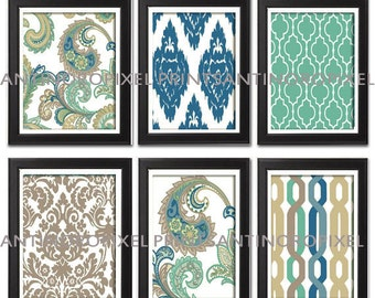 Paisley Digital illustration Wall Art - Set of (6) - 5x7 Prints - Featured in Teal Tan Green  (UNFRAMED)