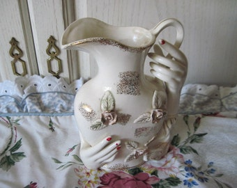 Vintage Pitcher, Vintage Pitcher with Hands on it, Vase Pitcher With Hands and Pretty Flowers , Vintage Home Decor, Vintage Collectiables