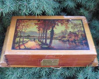 Sweet Vintage Wooden Candy Box with Scene by River and Cottage