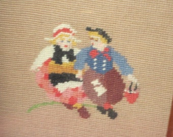 Embroidery Picture of Dutch Couple Pretty, Embroidery Art, Embroidery Couple Picture, Vintage Home Decor, Wall Art ,Early American Decor /s*
