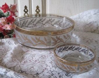 Beautiful  Frosted Gold Trimmed Wheat Pattern Bowl Set :)