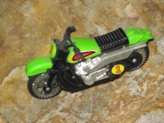 Sweet Number 1 Toy Green Motorcycle Vintage