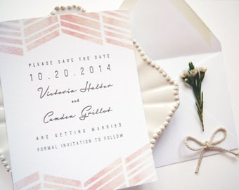 LETTERPRESS SAMPLE | Letterpress Save the Date | Watercolor Save the Date | Painted Save the Date | Save the Date without photo | Modern