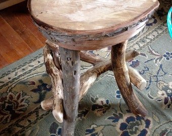 Items Similar To Rustic Wood Stool Table Candle Riser