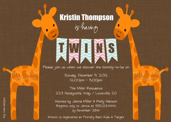 Twins Giraffe Baby Shower Invitations (Girl and Boy), DIY Printable, digital file (item 1058bg)