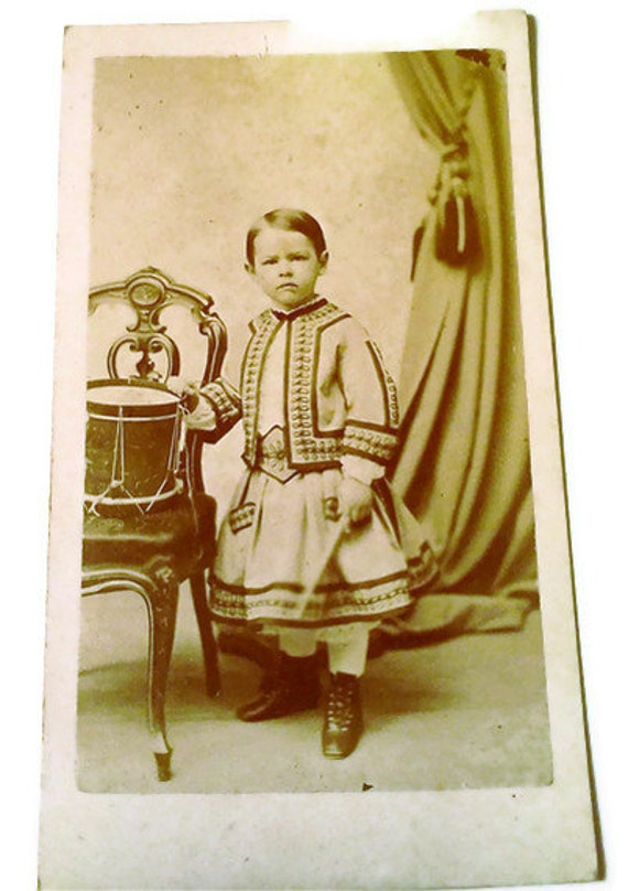 Antique photographs Carte de Visite,  Set of 3, Cabinet Cards Civil War Era Drummer Boy