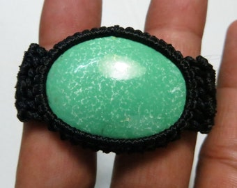 Natural Stone Turquoise Good Quality Macrame Bracelet Oval Shape  Stone Size 28X40 mm Approx