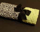 Damask and Light Lime Green Minky Baby Blanket for a Boy or Girl
