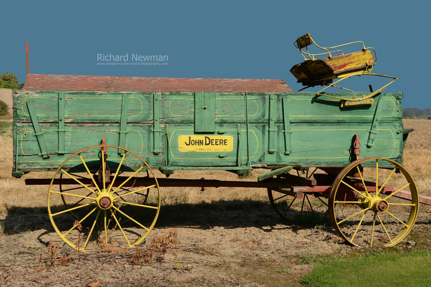 Old John Deere Wagon Farm Equipment Americana Art Old Green
