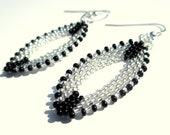 Handcrafted Beaded Earrings in Black and Silver with S.S. Ear Wire- Made to Order