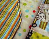 Contoured Burp Cloth: Stripes and Dots Burpcloths, Monkeys and Bears in Cars, Orange Polka Dots, Three Layers, Very Absorbent, Brown Minky,