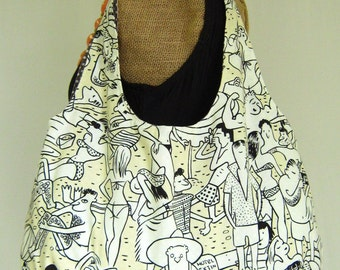 Ladies Beach Theme Purse, Hobo Shoulder Bag, Cream and White Summer Handbag,  Pocketbook with Polka Dots