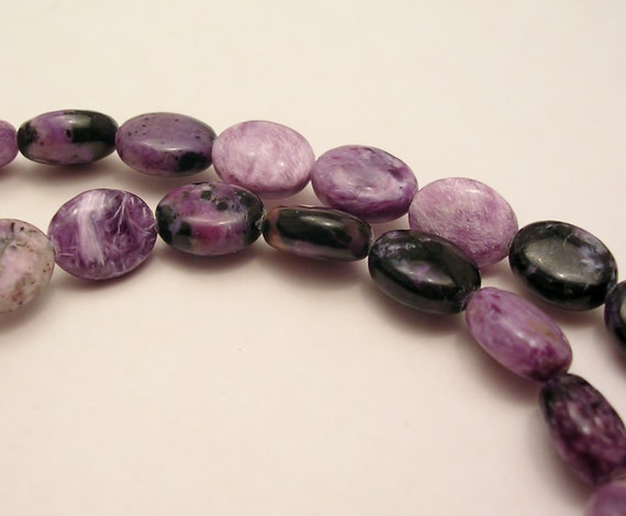 destash beads purple charoite natural gemstone beads flat oval CH001