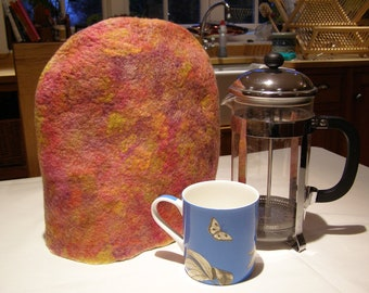 Wet Felted Tea Cosy Hand Dyed 'Fire Gold' Sparkle Cozy