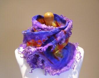 Cobweb Felted Wensleydale Lock Scarf Hand Dyed Shibori Wrap Stole Soft Luxurious Cozy Silk