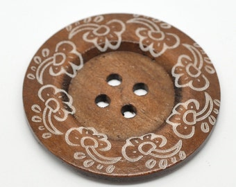 5 Extra Large Wooden Buttons - 2 3/8 inch - 60cm - Wood Button - Decorative Flower - 6 pieces
