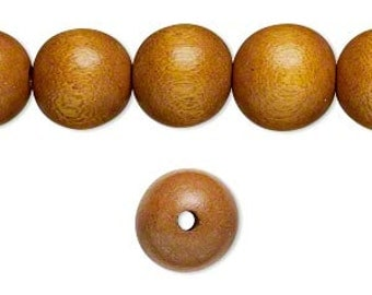 10 Wood Beads - Light Brown - Round - 8mm - Wooden Beads