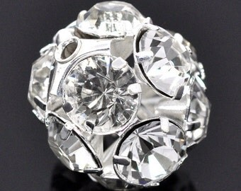 5 Silver Rhinestone Disco Ball Bead 20mm - Basketball Wives inspired