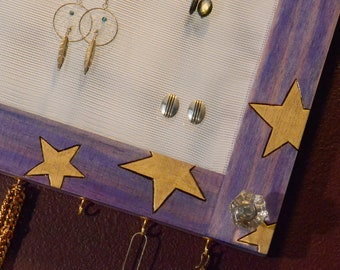 Mirrored Earring Organizer,starry Night, Wood Burned, jewelry storage, 18K gold, vanity, necklace hanger, wall mount (Patent Pending)