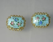 Reserved for Mee Antique Guilloche Enamel Brooch Set - Cloisonne with Rhinestones