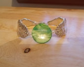 1895 silverware bracelet / anklet Niagara Falls with green stone