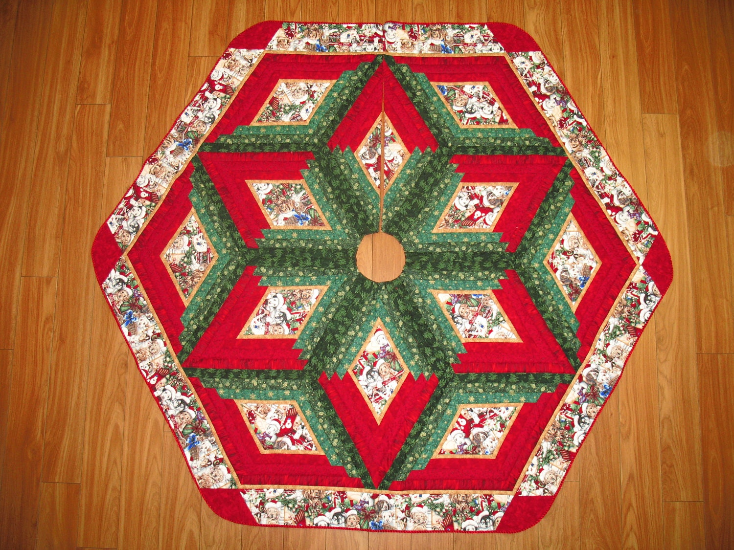 Christmas Tree Skirt Quilt Puppy Christmas 100