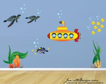 Kids Ocean Wall Decals, Ocean Submarine Fish and Turtle Wall Decals