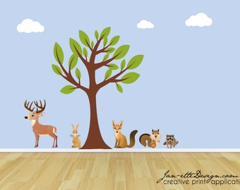 Kids Wall Decals,Tree and Forest Animals Fabric Wall Decal Set