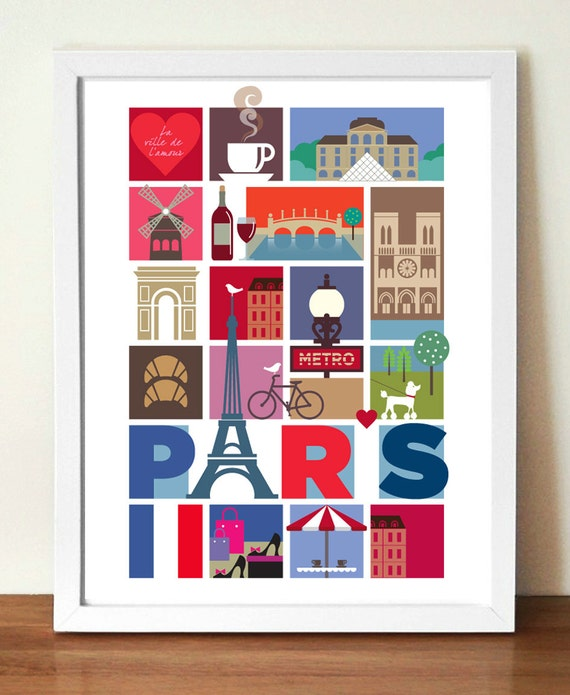 Travel Poster, City Print, Paris, Eiffel Tower, mid century modern retro style print, Urban art, Cityscape, Vacation print, Travel wall art
