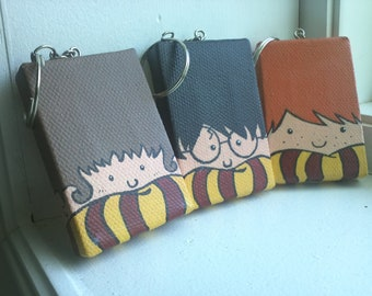 Painted Harry Potter Trio Mini Tangle Keychains