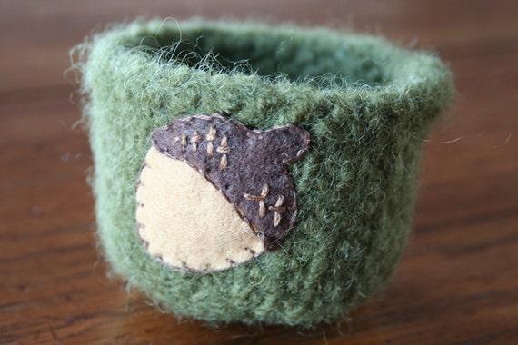 green wool fall felted autumn vessel chocolate brown waldorf woodland acorn