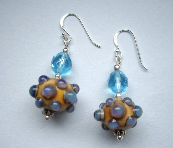 Earrings sterling silver with handmade glassbeads, made by me (SRA)