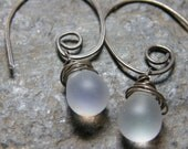 Sterling Silver. Oxidized Silver. Wire Wrapped Czech Glass Teardrop