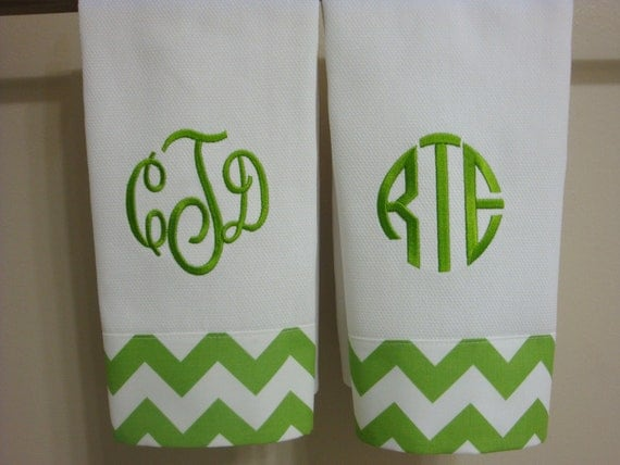 Items Similar To Chevron Green Monogrammed Hand Towel Or Kitchen Towel On Etsy