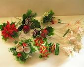 12 Stems Christmas Plastic Greens Pinecones Bells